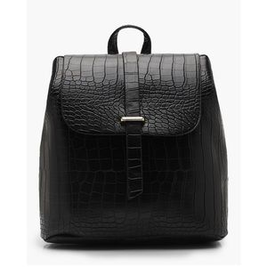 Handbags - Black Alligator Print Backpack